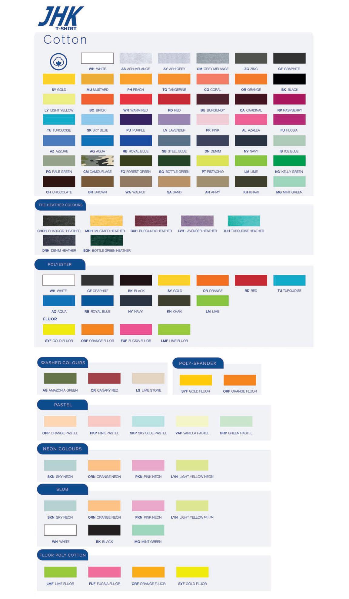 tabela kolorów marki JHK