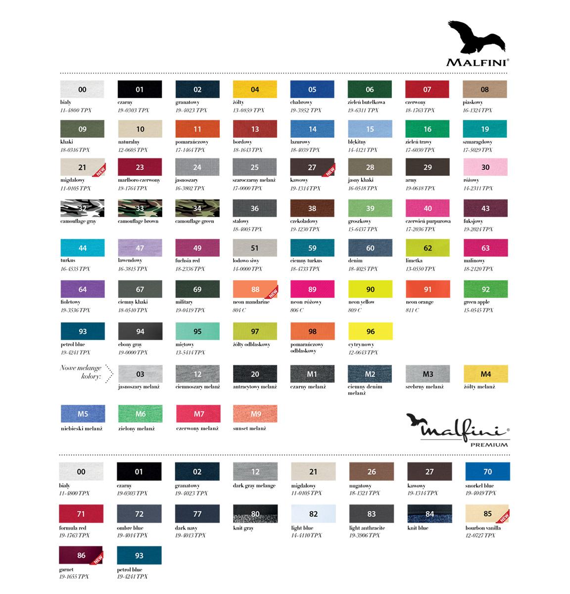 tabela kolorów marki MALFINI